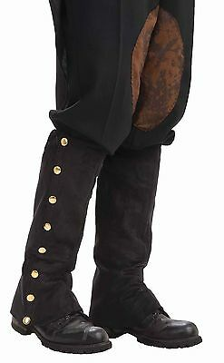 Steampunk Suede Spats Shoe Covers Boot Tops Black Costume Accessory Mens Adult