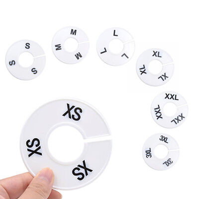 1 Pcs Clothes Closet Hanger Rack Size Dividers Round Sizer Marker XS- 3XL White
