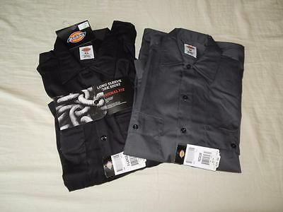 New Men's Dickies Long Sleeved Work Shirts in Black or Gray - Size M, XL, 2XL