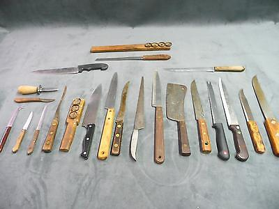 Large lot of 20 various vintage knives utility fishing hunting outdoors steel