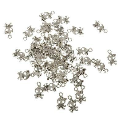 50pcs Silver SKULL Pendants Charms Beads for Jewelry Making DIY Findings