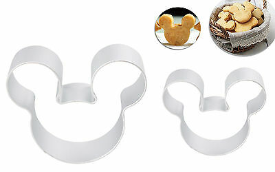 2pc Set Mickey Mouse Head Face Cookie Cutters Biscuit Cake Topper Fondant Mold