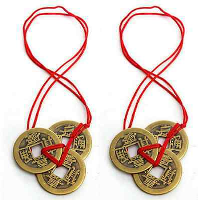 6PCS Chinese Feng Shui Brass Coins I Ching for Good Luck Fortune Success Wealth
