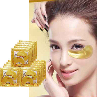 10 Pairs New Crystal 24k Gold Powder Gel Collagen Eye Mask Anti Wrinkle Blemish