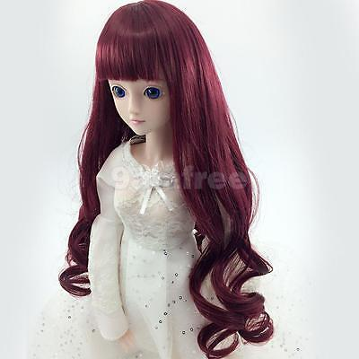Fashion Wine Red Long Curly Hair Wig for 1/4 BJD SD DZ Dollfie Doll Clothes