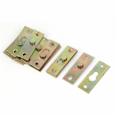 Furniture Bed Rail Hook Plate Bracket Connector Brass Tone 8pcs