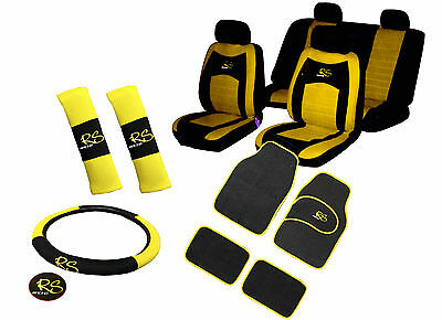 Black / Yellow, Full Car Seat Covers Set, Front And Rear, Velour (15 piece set)