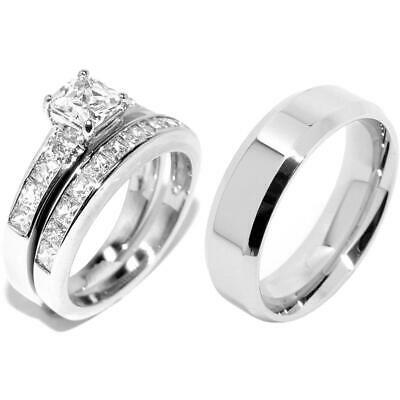 3 PCS Stainless Steel His Flat Band /Hers Princess Cut CZ Engagement Ring Set