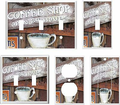 Vintage Coffee Shop Sign Light Switch Cover Plate