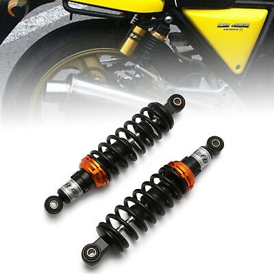 "2x Black Motorcycle 11"" 280mm Rear Shock Absorber Air Suspension Round For Honda"