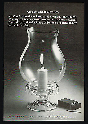 1970 Orrefors Glass Candle Hurricane Lamp Photo Vintage Print Ad