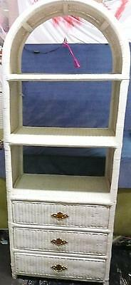 USED Vintage Antique Retro Tall white wicker standing bookcase dresser shelf