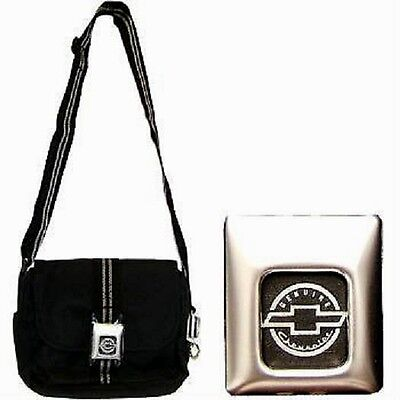 Ladies Chevrolet Purse Black Shoulder Strap Seat Buckle/key Chain Chevy New
