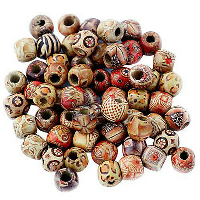 100X 10mm Mixed Round Wooden Beads Jewelry Making Loose Spacer Charms Craft Diy