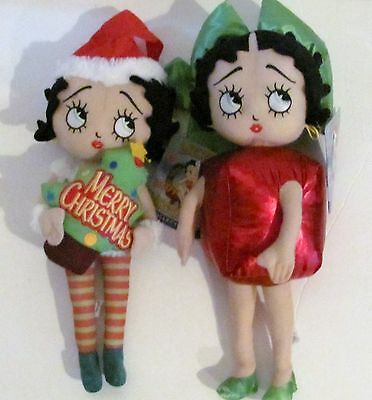 New Betty Boop Christmas Elf Tree Gift Lot of 2 Sugar Loaf Plush Stuffed Doll