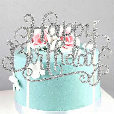 Gold Silver Cake Topper Happy Birthday Party Wedding Supplies DIY Decorations