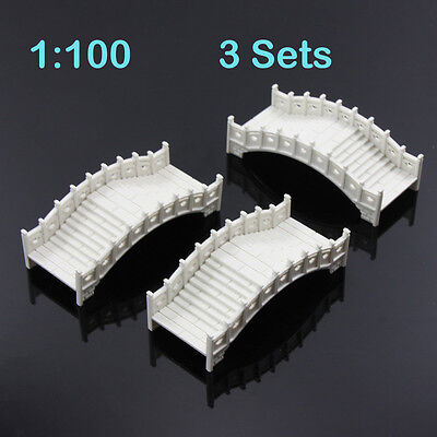 GY30100 3 sets plastic arch bridge White Chinese traditions 1:100 Scale railway