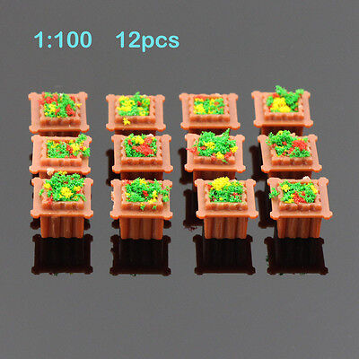 GY36100 12pc Model Square Flowerbed Park Garden Railway Border Parterre 1:100 TT
