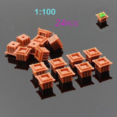 GY36100B 24pcs Model Square Flowerbed Park Garden Railway Border Parterre 1:100