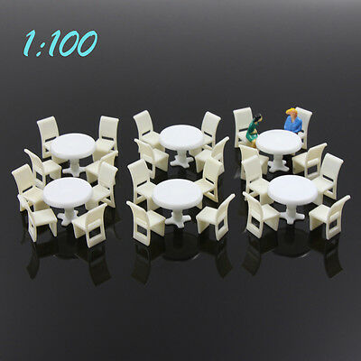 ZY01100 6Sets White Round Dining Table Chair Settee Railway Model 1:100 TT Scale