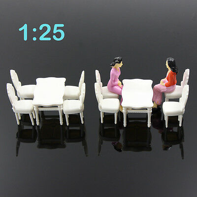 ZY03025 2 Sets White Square Dining Table Chair Settee Railway Model 1:25 G Scale