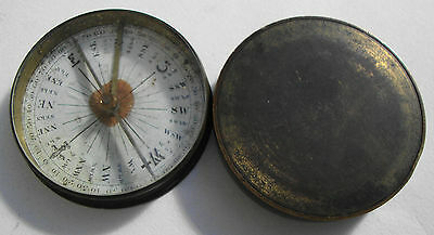 Antique Georgian brass cased paper dial pocket compass