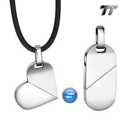 TT Silver Stainless Steel Heart Dog Tag Pendant Necklace (NP245S) NEW