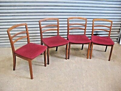 Set of 4 vintage teak hardwood G Plan dining chairs C355 Aramis Dralon