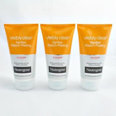 (3,66EUR/100ml) 3x Neutrogena Visibly Clear Sanftes Peeling Waschcreme 150ml