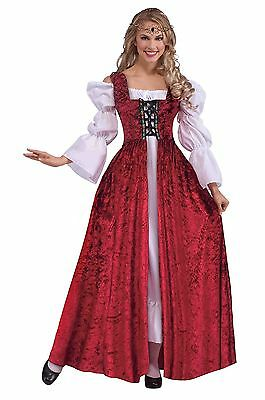 Queen Medieval Renaissance Damsel Lace Up Fancy Dress Gown Adult Womens Costume