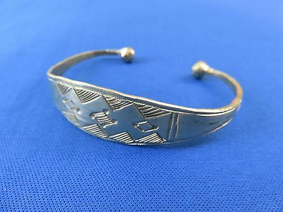 NIGER African Ethnic Jewelry Tuareg Silver ETCHED  BRACELET GOLD TINT A