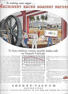 Socony-Vacuum Corp Standard Oil Keeping Cane Suger Machinery Moving In Cuba Ad