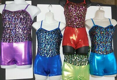 NWT DANCE Costume Acro GYM Sequin Front Shorty unitard 4 Colors Foil Wolff Ford