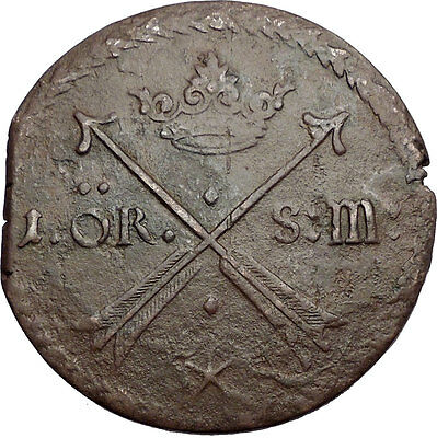 1676 SWEDEN King Carl Charles XI HUGE Antique 1 Ore Coin Coat-of-Arms i57520