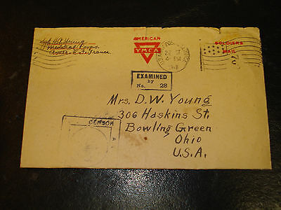 BOWLING GREEN OH 1918 D W Young& WW I AEF Sgt H G Young MEDICAL CORPS YMCA COVER