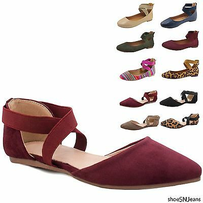 New Women Fashion Casual Elastic Cross Ankle Strap Ballet Slip On Flat Shoes