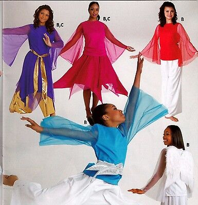 NWT Praisewear Liturgical Dance Top Chiffon Bell Sleeve 3 Color Choices Ad/Chld