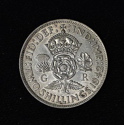 Great Britain Uk 1942 Two Shillings Silver Coin