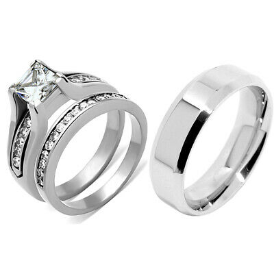 His & Hers 3 PCS Womens Princess CZ Stainless Steel Wedding Set /Mens Flat Band