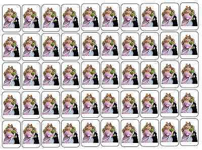 """50 Kermit and Miss Piggy Envelope Seals / Labels / Stickers, 1"""" by 1.5"""""""