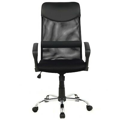 Executive Conference Task Office Chair High Back Mesh PU Leather Beige Black New