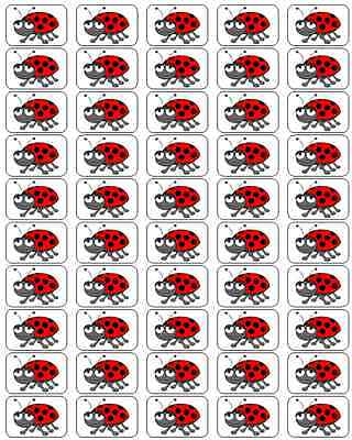 """50 Ladybug Envelope Seals / Labels / Stickers, 1"""" by 1.5"""""""