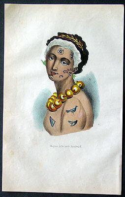 1845 Dally Antique Print of a Woman of the Hawaiian Islands