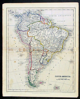 1845 Dower Antique map of South America