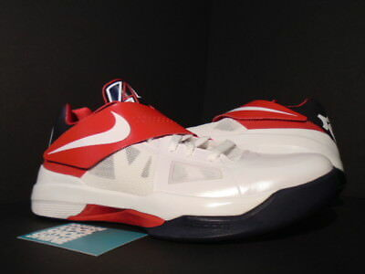 d5ec0bb936f9 Nike Zoom KEVIN DURANT KD IV 4 OLYMPIC WHITE OBSIDIAN BLUE RED 473679-103  10.5