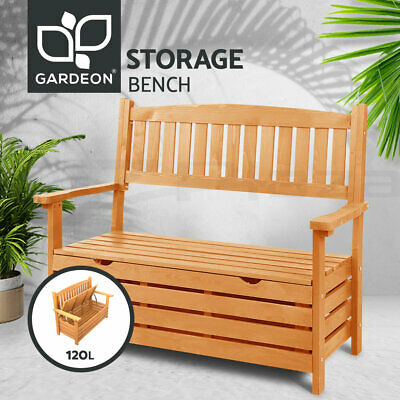 Wooden Outdoor Garden Storage Bench Chair Box 2 Seat Chest Furniture Timber