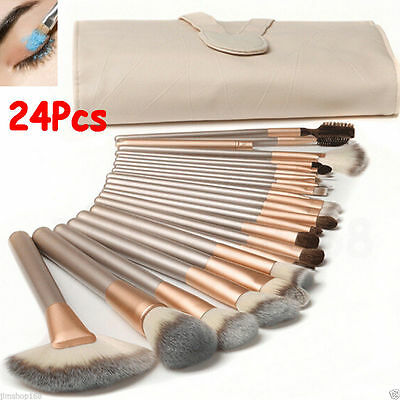 Hi-Q 24/18/12pcs Makeup Brushes set Foundation Cosmetic Tool with Leather Case
