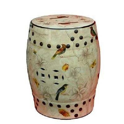 Beautiful Porcelain Oriental Creamy Birds and Butterflies Stool Chinese MA