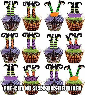 PRE-CUT Witch Witches Legs - Edible Cupcake Toppers Decorations Halloween Party