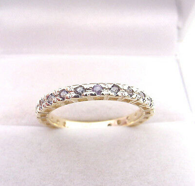 Pretty Colors Natural Alexandrite .18 Tcw  3/4 Eternity Band 14K Gold Ring